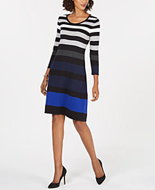 Nine West 3/4-Sleeve Striped Sweater Dress