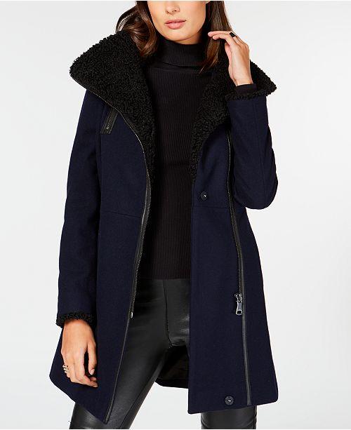 c8ea5b464e54 Calvin Klein Asymmetrical Faux-Shearling Coat & Reviews - Coats ...