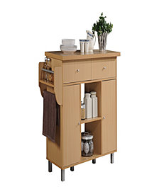 Kitchen Island with Spice Rack plus Towel Holder in Beech