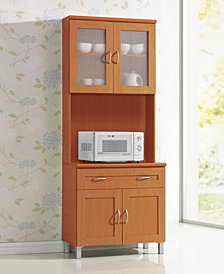 Kitchen Cabinet with Top and Bottom Enclosed Cabinet Space, 1-Drawer, plus Large Open Space for Microwave in Cherry