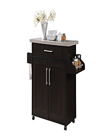 Kitchen Island with Spice Rack plus Towel Holder in Chocolate-Grey