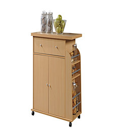 Kitchen Cart with Spice Rack in Beech