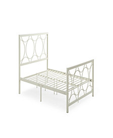Complete Metal Queen-Size Bed with Headboard, Footboard, Slats and Rails in Ivory