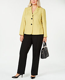 Le Suit Plus Size Two-Button Colorblocked Pantsuit