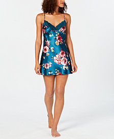 Thalia Sodi Floral-Print Lace-Trim Chemise, Created for Macy's