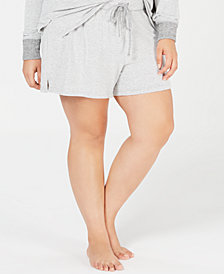 Alfani Plus Size Brushed Hacci Knit Striped Sleep Shorts, Created for Macy's