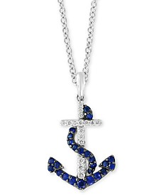 "EFFY® Sapphire (1/2 ct. t.w.) & Diamond (1/10 ct. t.w.) Anchor 18"" Pendant Necklace in 14k White Gold"