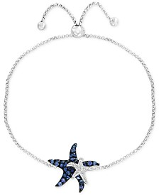 EFFY® Sapphire (5/8 ct. t.w.) & Diamond Accent Double Starfish Bolo Bracelet in 14k White Gold