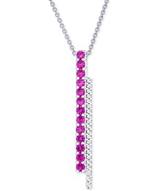 """Lab-Created Ruby (5/8 ct. t.w.) & White Sapphire (1/5 ct. t.w.) Double Bar 18"""" Pendant Necklace in Sterling Silver"""