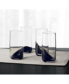 CLOSEOUT! Set of 4 Highball Glasses with Black Ombre, Created for Macy's