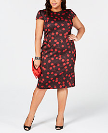 Betsey Johnson Plus Size Printed Scuba Sheath Dress
