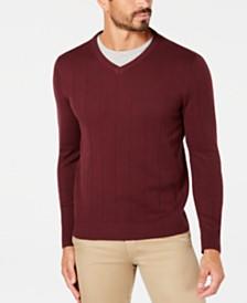 Club Room Men's Regular-Fit Knit Stripe V-Neck Sweater, Created for Macy's
