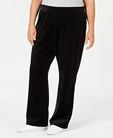 Karen Scott Plus-Size Velour Pull-On Pants, Created for Macy's