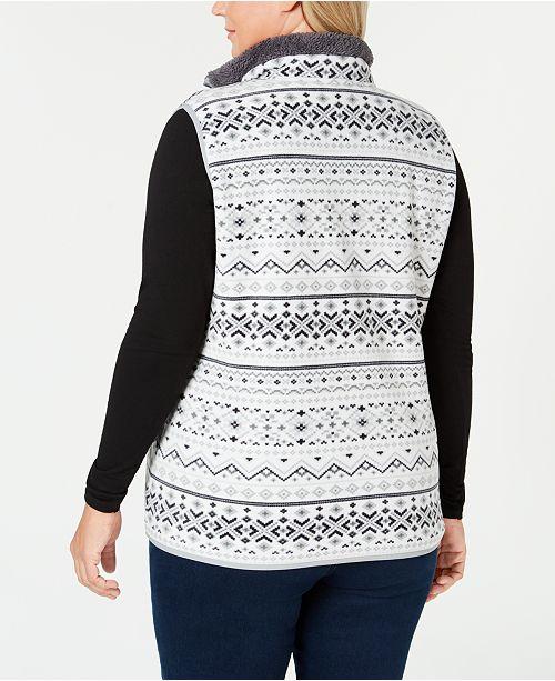 b73ba0aef65 Karen Scott Plus Size Fair-Isle Stand-Collar Vest