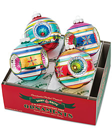 "Christopher Radko Christmas Confetti 4"" 4-Pc. Rounds with Triple Reflectors"