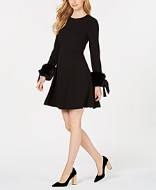 Calvin Klein Faux-Fur Tie-Sleeve Dress