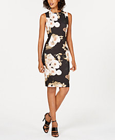 Calvin Klein Floral-Print Stretch Sheath Dress