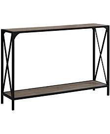 """48""""L Hall Console Accent Table in Dark Taupe/Black"""