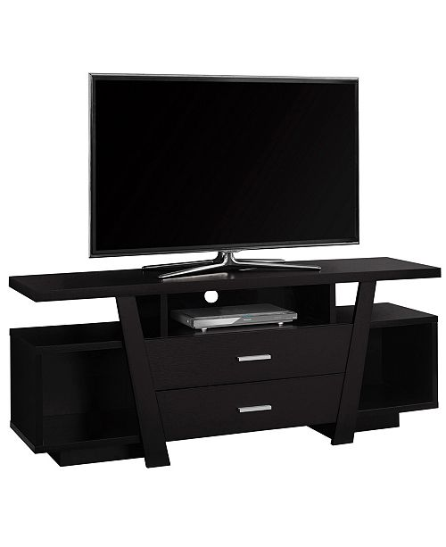 """Monarch Specialties 60""""L Tv Stand With 2 Storage Drawers in Cappuccino"""