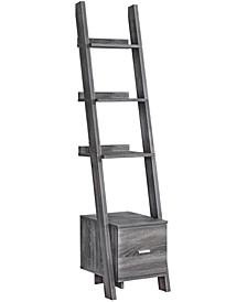 "Storage Drawer 69""H Bookcase With Ladder in Grey"