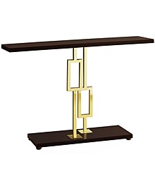 "Gold Metal 48""H Console Accent Table in Cappuccino"