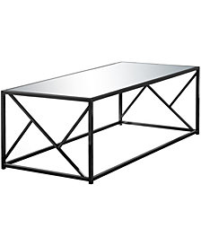 Monarch Specialties Mirror Top Coffee Table in Black Nickel
