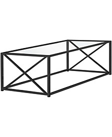 """Nickel Metal Tempered Glass 44""""L Coffee Table in Black"""