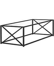 "Monarch Specialties Nickel Metal Tempered Glass 44""L Coffee Table in Black"