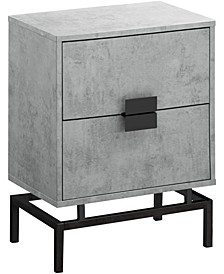 """Nickel Metal 24""""H Night Stand  Accent Table in Grey Cement"""