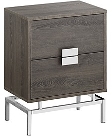 "Chrome Metal 24""H Night Stand Accent Table in Dark Taupe"