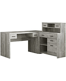 Monarch Specialties L/R Facing Wood Grain  Computer Desk in Grey