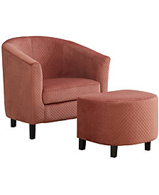 Accent Chair - 2Pcs Set Quilted Fabric