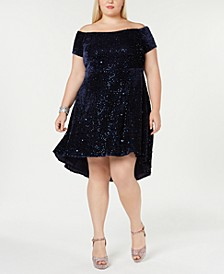 Trendy Plus Size Velvet Off-The-Shoulder Dress