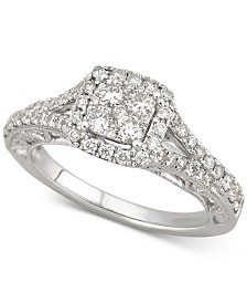 Diamond Square Halo Engagement Ring (1-1/10 ct. t.w) in 14k White Gold