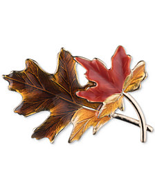 Anne Klein Gold-Tone Multicolor Harvest Leaf Pin, Created for Macy's