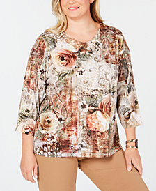 Alfred Dunner Plus Size Embellished Printed Top