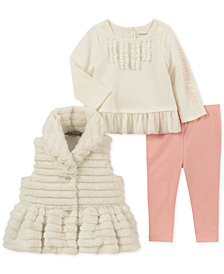 Calvin Klein Baby Girls 3-Pc. Faux-Fur Vest, Tunic & Leggings Set