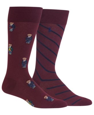 Men's 2-Pk. Preppy Bears Dress Casual Socks