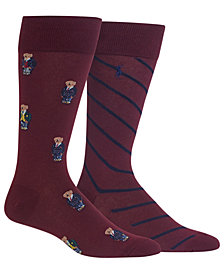 Polo Ralph Lauren Men's 2-Pk. Preppy Bears Dress Casual Socks