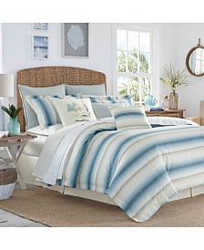 Tommy Bahama Home La Prisma Stripe 4-Pc. Medium Blue Queen Comforter Set