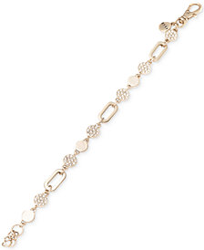 DKNY Gold-Tone Link & Pavé Disc Bracelet, Created for Macy's
