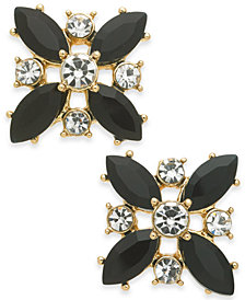 Charter Club Gold-Tone Crystal & Stone Stud Earrings, Created for Macy's