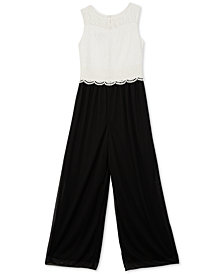BCX Big Girls Illusion-Neck Lace Jumpsuit