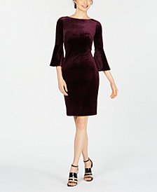Calvin Klein Bell Sleeve Velvet Dress