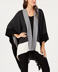 Eileen Fisher Recycled Cashmere Colorblocked Open-Front Sweater