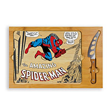 Toscana™ by Picnic Time Marvel's Spider-Man Icon Glass Top Cutting Board & Knife Set