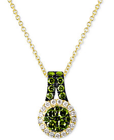"Le Vian Exotics® Diamond Halo 18"" Pendant Necklace (5/8 ct. t.w.) in 14k Gold"