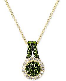 """Le Vian Exotics® Diamond Halo 18"""" Pendant Necklace (5/8 ct. t.w.) in 14k Gold"""