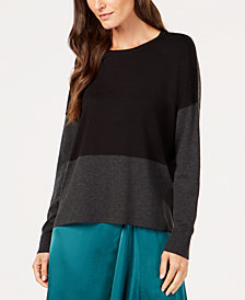 Eileen Fisher Tencel® Colorblocked Sweater, Created for Macy's