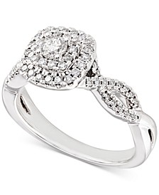 Diamond Double Halo Braided Engagement Ring (1/2 ct. t.w.) in 14k White Gold
